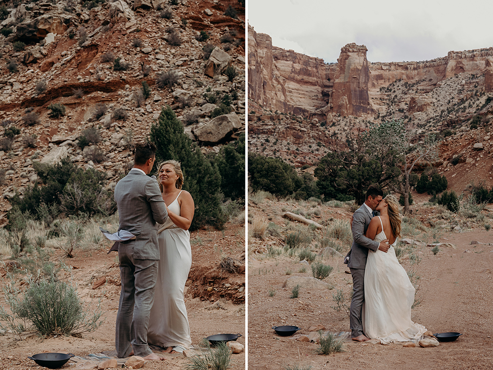Couple have their first kiss during their backcountry Utah wedding