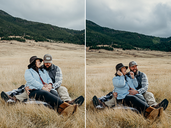 A cowboy embraces his wife in Jackson Hole Wyoming anniversary engagement