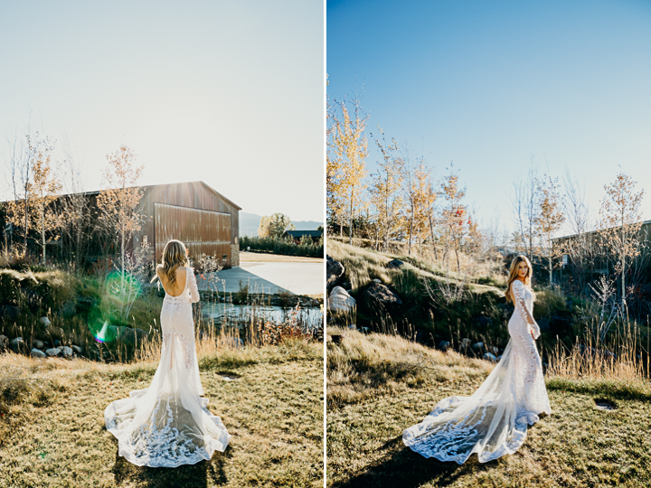 A bride in a full lace beaded gown glows in sunset during Jackson Hole wedding portraits