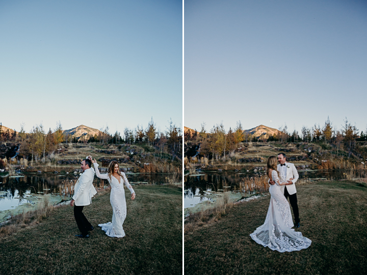A couple dance after their Jackson Hole wedding at sunset