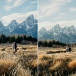 Man and woman embrace after Grand Teton National Park wedding at Schwabacher Landing