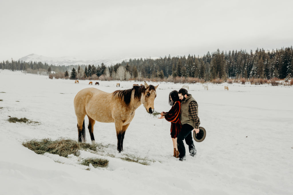 Man wearing Filson holds snuggles his fiance while they embrace a horse on Trail Creek Ranch in Jackson Hole Wyoming during their engagement photos