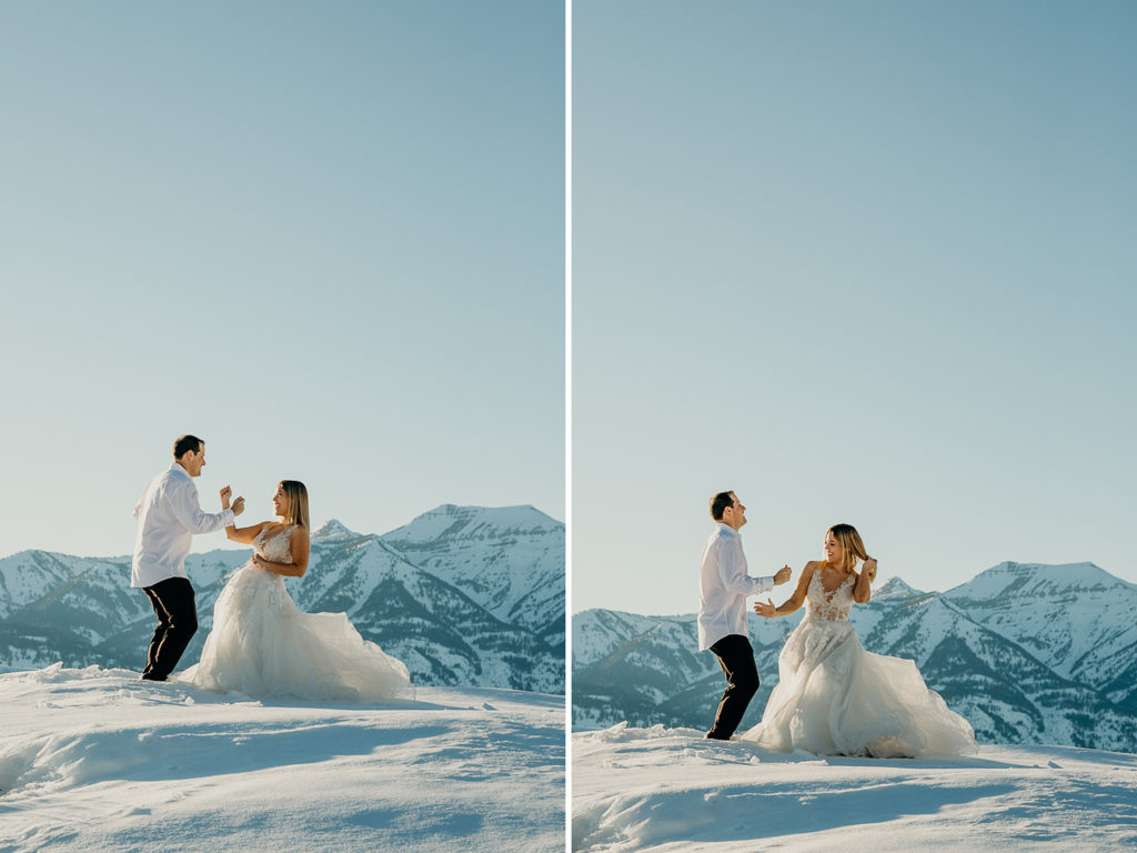 A couple dance together in the snow on their wedding day in a late winter sunset at Amangani resort.