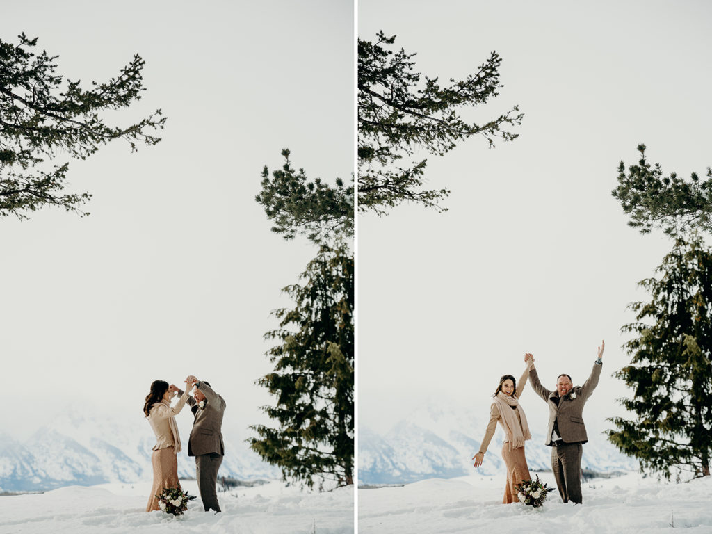 a couple celebrates under the wedding tree in jackson hole after finishing their wedding ceremony