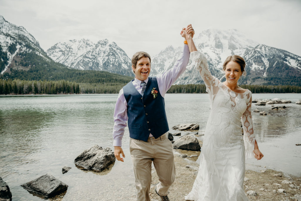 celebrating wedding in grand teton national park