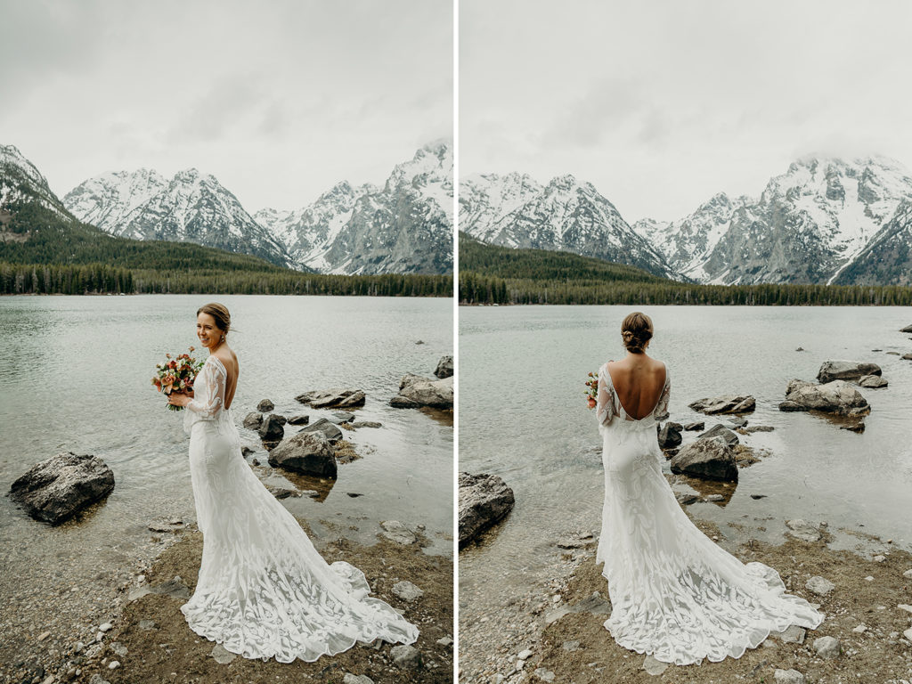 bride in grand teton national park wedding
