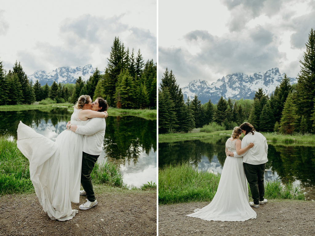 LGBTQ+ Wedding at Schwabachers Landing in Grand Teton National Park