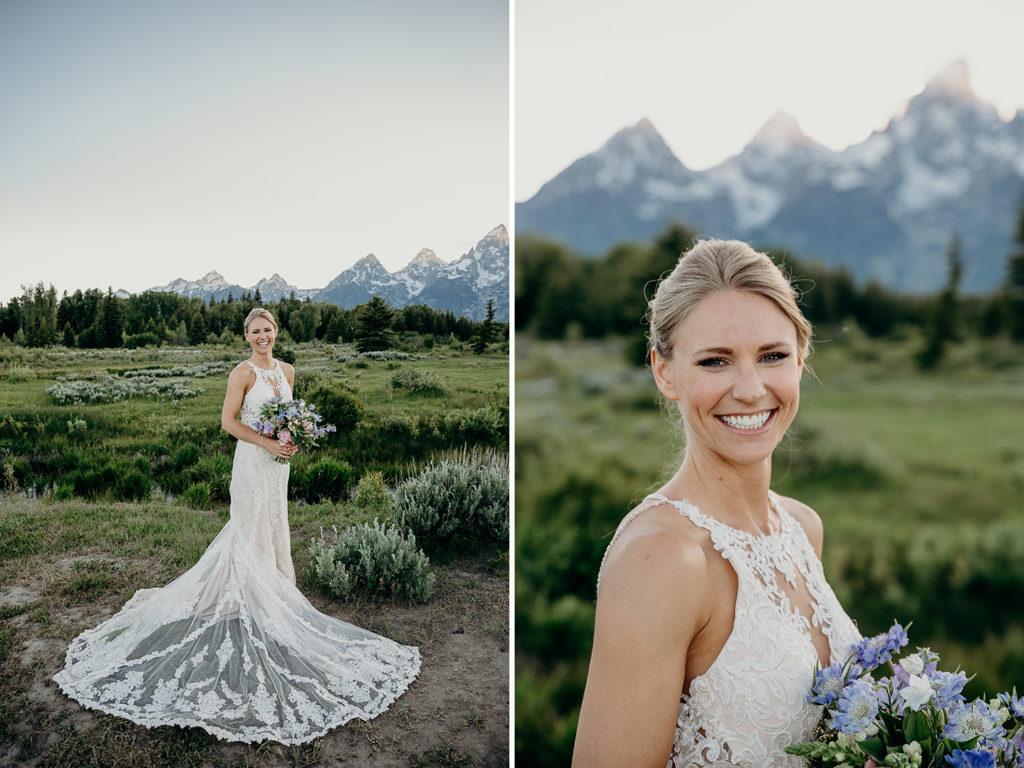 bride in grand teton national park