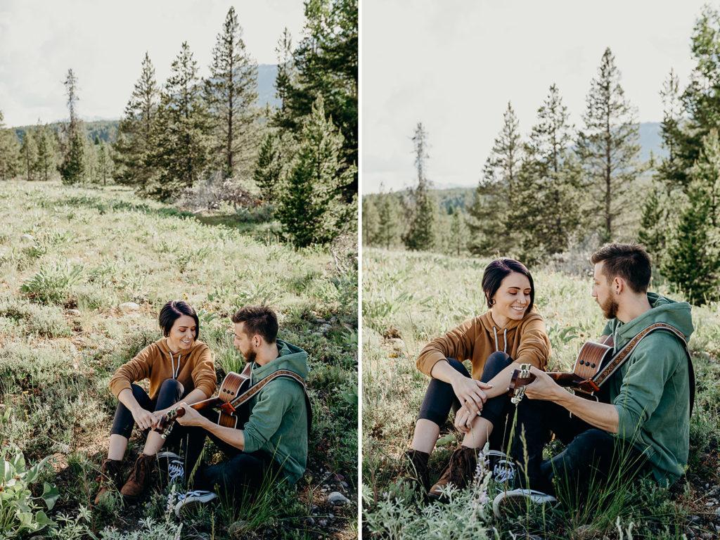 wildflower engagement in grand teton national park