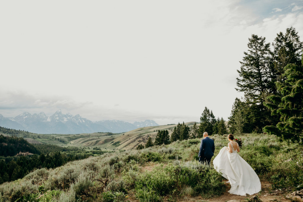 Elopement with a view of the Tetons in Jackson WY