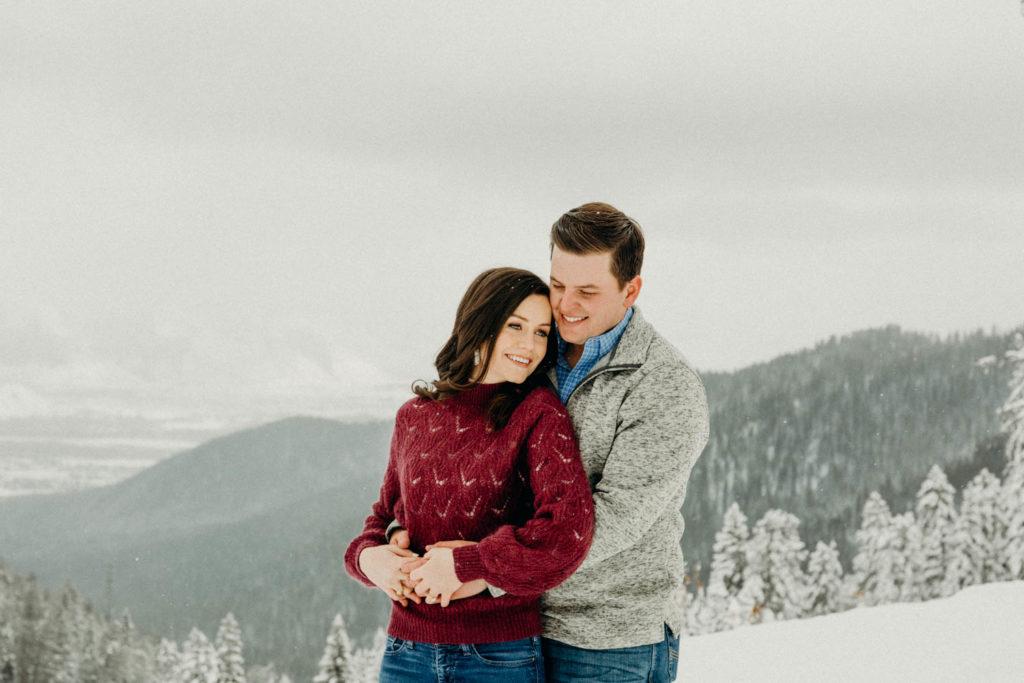 winter mountain engagement