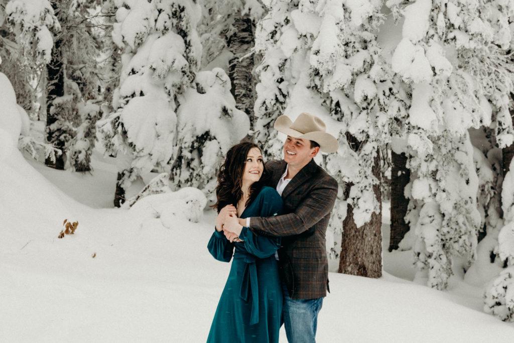 wyoming winter engagement