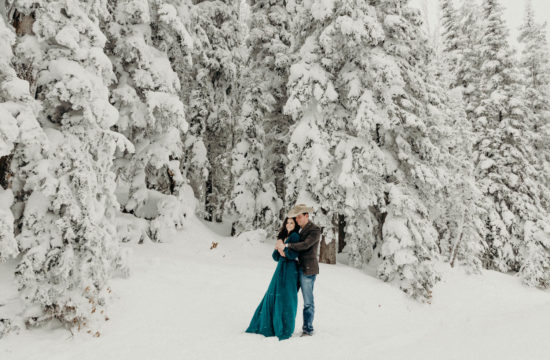 winter mountain engagement