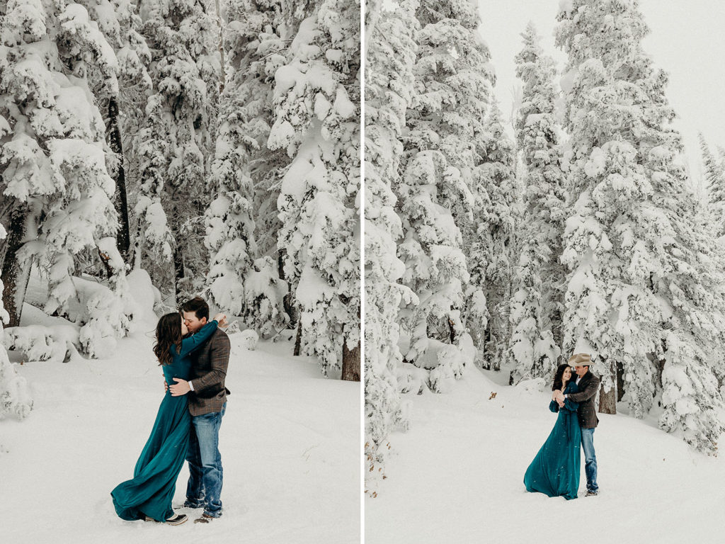 winter engagement in the mountains