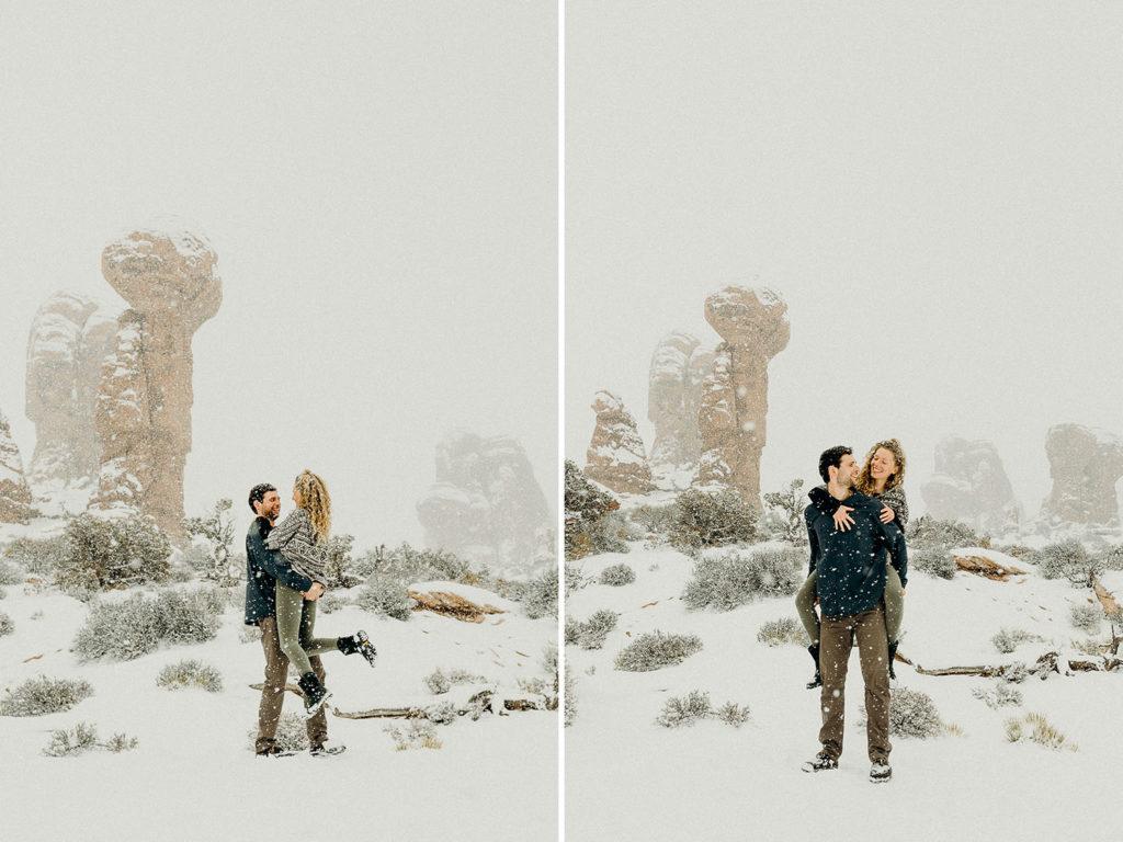 snowy moab wedding