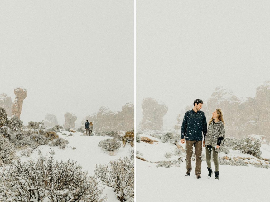 snowy winter elopement in moab
