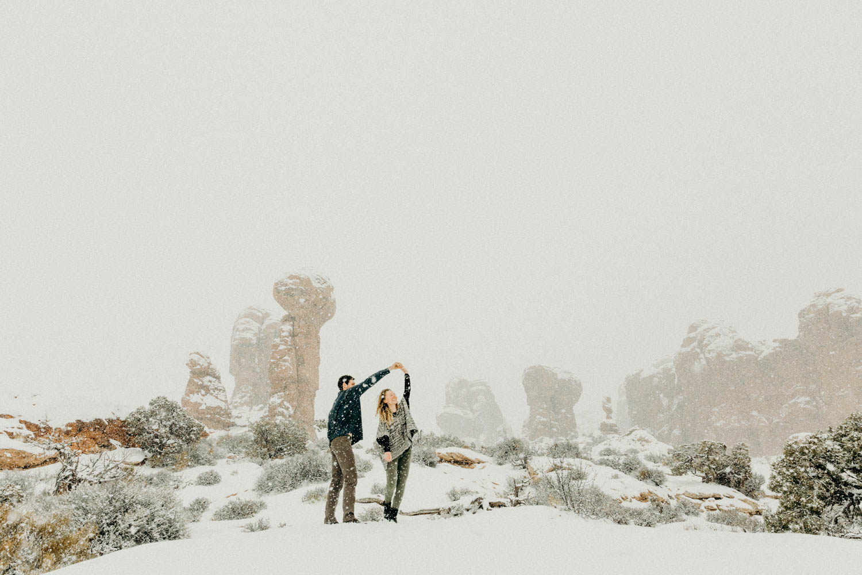 arches national park winter elopement
