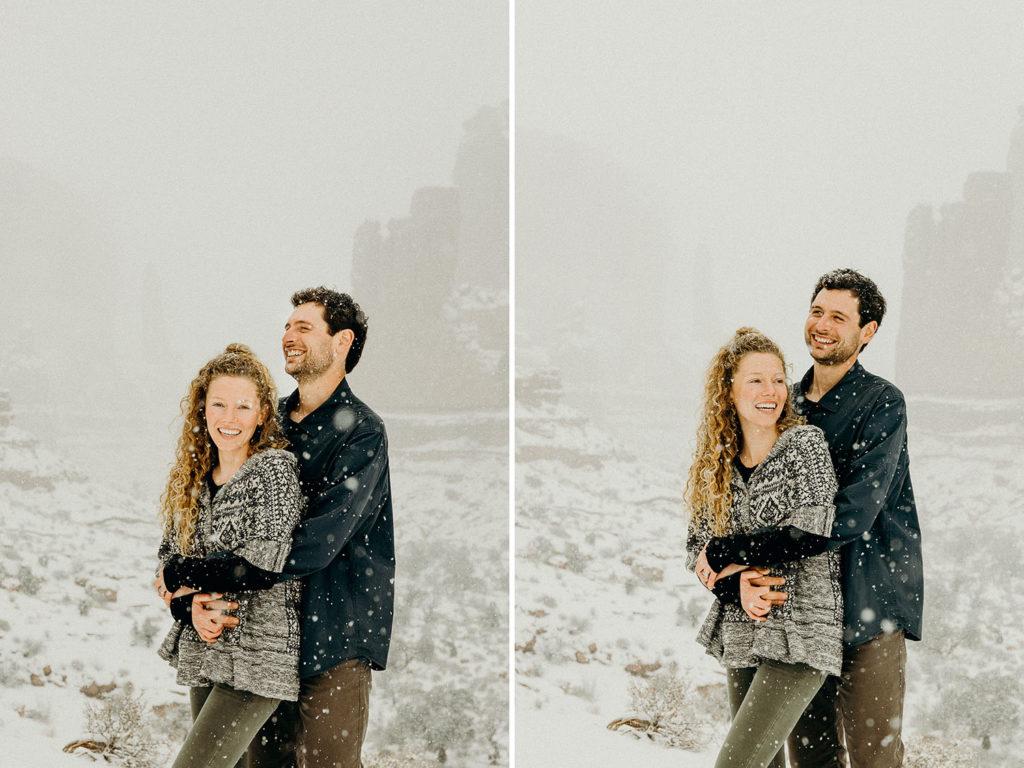 snowy desert elopement