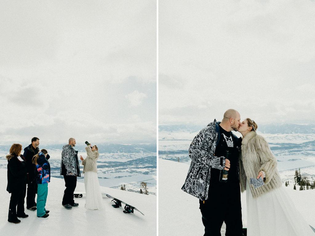 Jackson Hole Mountain Resort Snowboarding Wedding